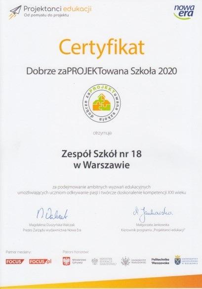 certyfikat dobrze zaprojektowana szkoła