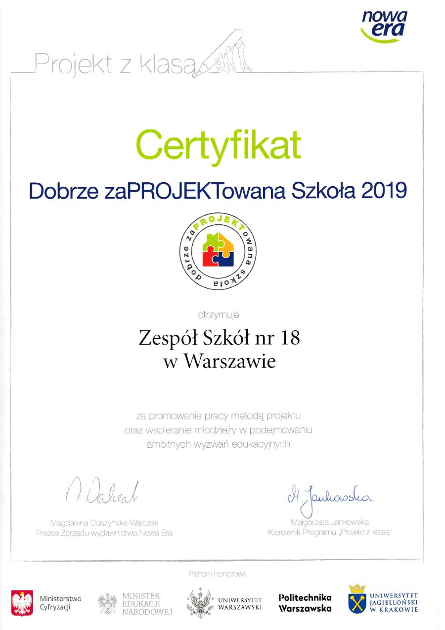 certyfikat szkoła z klasą
