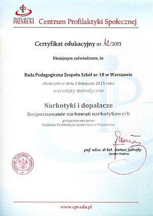 certyfikat nakotyki