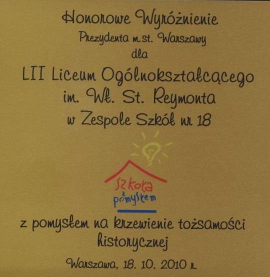 Certyfikat szkoła z pomysłem
