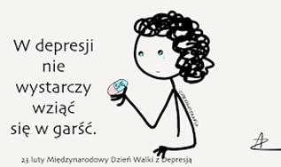"""Obrazek w depresji: przedstawia płaczącą osobę. Na obrazku umieszczone jest hasło: """" W depresji nie wystarczy wziąć się w garść""""."""