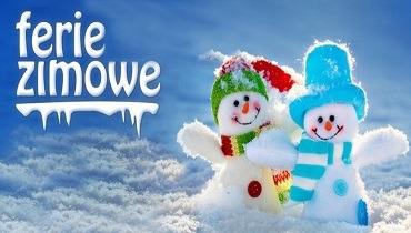 ferie zimowe plakat, dwa bałwanki i napis ferie zimowe