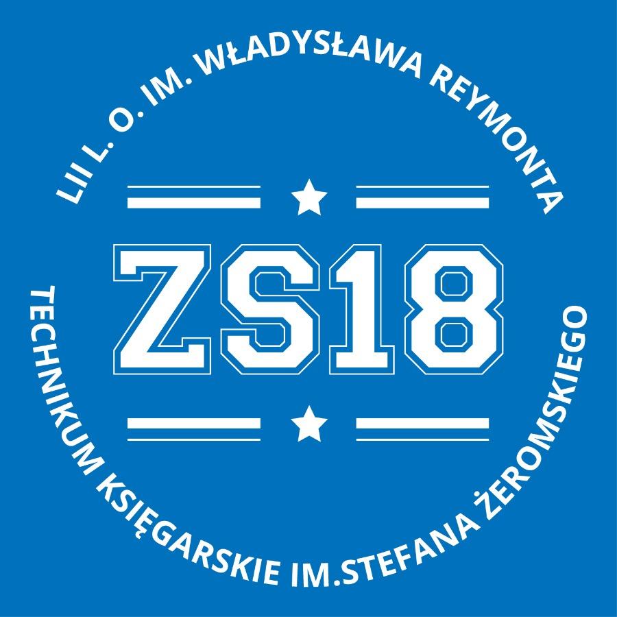 Logo ZS nr18: napis ZS nr 18 na błękitnym tle.